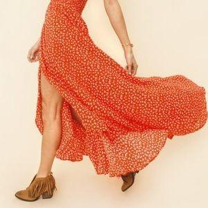 August the label orange maxi skirt